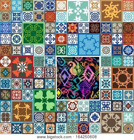 Colorful vintage tiles with floral and geometrical patterns. Spanish, Italian, Portuguese, Turkish motifs.
