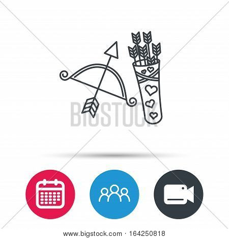 Amour arrows and bow icon. Valentine weapon sign. Group of people, video cam and calendar icons. Vector