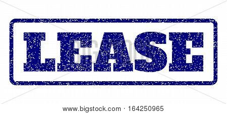 Navy Blue rubber seal stamp with Lease text. Vector tag inside rounded rectangular banner. Grunge design and dust texture for watermark labels. Horisontal sticker on a white background.
