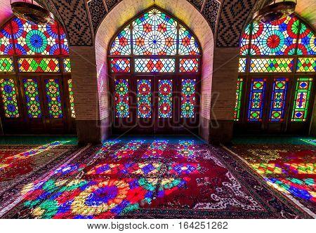 Shiraz Iran - October 23 2016: Colored glass in Nasir ol Molk Mosque (Pink Mosque) in Shiraz city