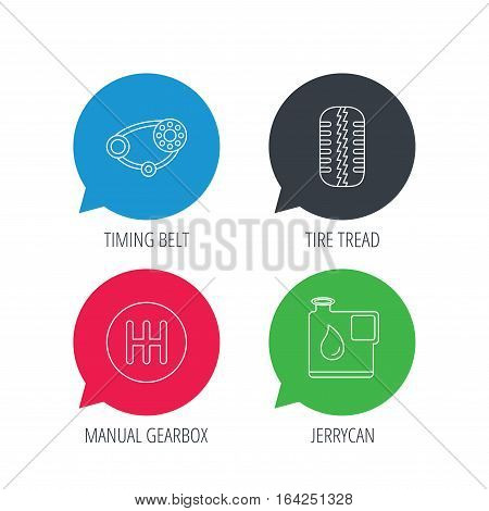 Colored speech bubbles. Wheel, manual gearbox and timing belt icons. Fuel jerrycan, manual transmission linear signs. Flat web buttons with linear icons. Vector