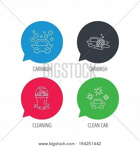 Colored speech bubbles. Car wash icons. Automatic cleaning station linear signs. Wet cleaning and foam bucket flat line icons. Flat web buttons with linear icons. Vector