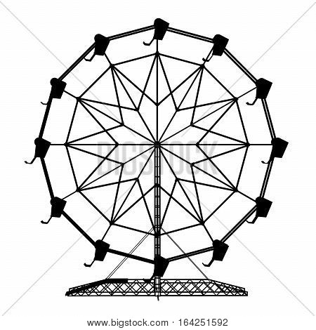 Computer generated 2D illustration with the silhouette of a ferris wheel