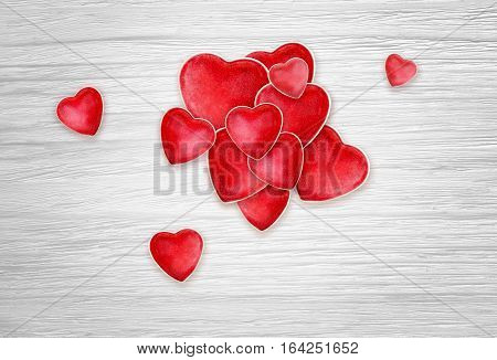 Red Hearts for Valentines Day on white wood background