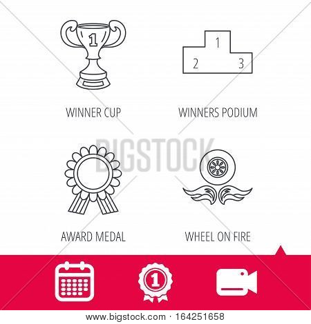 Achievement and video cam signs. Winner cup, podium and award medal icons. Race symbol, wheel on fire linear signs. Calendar icon. Vector