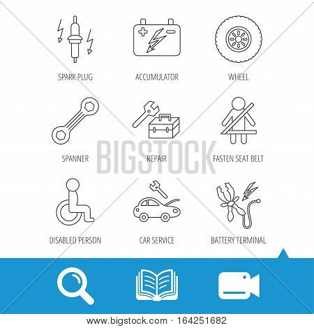 Accumulator, spanner tool and car service icons. Repair toolbox, wheel and spark plug linear signs. Disabled person, battery terminal icons. Video cam, book and magnifier search icons. Vector