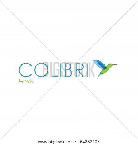 Colibri logo. Bird logotype. Blue green colored flying bird.