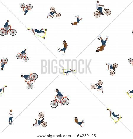 Vector Illustration Of A Seamless Pattern With The Images Of People Active Summer Vacationers, Flat