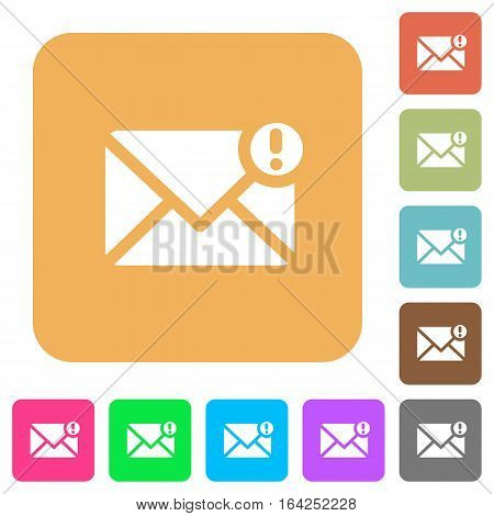 Important message flat icons on rounded square vivid color backgrounds.