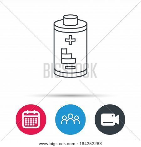 Battery icon. Electrical power sign. Rechargeable energy symbol. Group of people, video cam and calendar icons. Vector