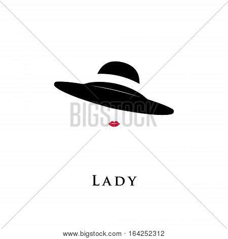 Lady retro hat icon isolated on white background. Vector illustration.