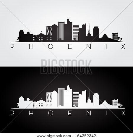 Phoenix USA skyline and landmarks silhouette black and white design vector illustration.