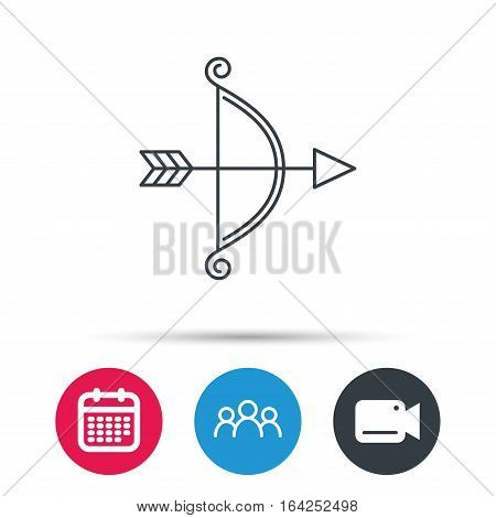 Bow with arrow icon. Valentine weapon sign. Group of people, video cam and calendar icons. Vector