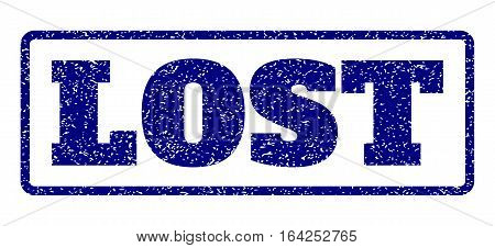 Navy Blue rubber seal stamp with Lost text. Vector caption inside rounded rectangular shape. Grunge design and scratched texture for watermark labels. Horisontal sign on a white background.