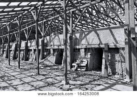 Black and white shot of a derelict brickyard in Silkeborg Denmark