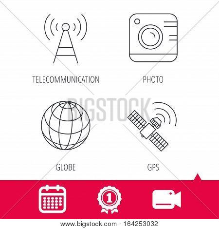 Achievement and video cam signs. Photo camera, globe and gps satellite icons. Telecommunication station linear sign. Calendar icon. Vector