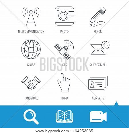Handshake, contacts and gps satellite icons. Pencil, photo camera and mail linear signs. Telecommunication station flat line icons. Video cam, book and magnifier search icons. Vector