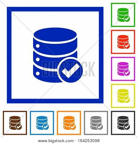 Database ok flat color icons in square frames on white background