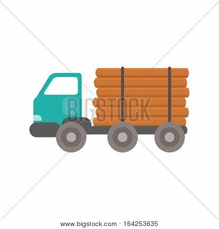 Truck wood transportation delivery icon. Isolated car and load highway delivery flat illustration. Vector graphic material agriculture shipping freight machine.