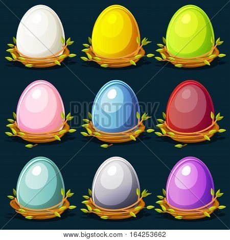 Cartoon funny colored birds Eggs in nest of twigs big set