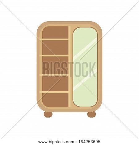 Flat design vector illustration of cupboard icon isolated on white background. Vintage lifestyle retro larder with shelves. Storage box interior design.