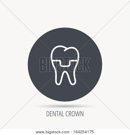 Dental crown icon. Tooth prosthesis sign. Round web button with flat icon. Vector