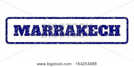 Navy Blue rubber seal stamp with Marrakech text. Vector message inside rounded rectangular frame. Grunge design and dirty texture for watermark labels. Horisontal sticker on a white background.