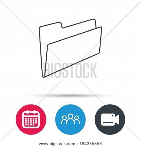 Folder icon. Accounting audit sign. Group of people, video cam and calendar icons. Vector