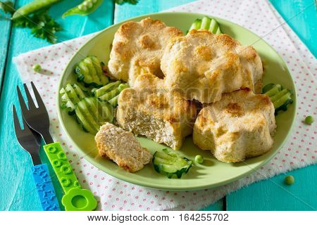 Dinner Or Lunch For Children - Roasted Meat Or Fish Souffle, Steam Cutlets And Assorted Vegetables O