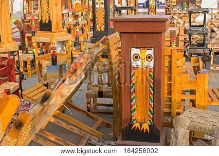 Colorful wooden furniture and self handicrafts on display during the Handicraft Fair in Kolkata earlier Calcutta West Bengal India. It is the biggest handicrafts fair in Asia.