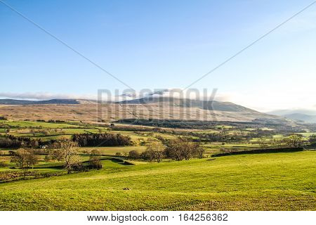 Beatiful fields and mountains in Ambelside, Cumbria