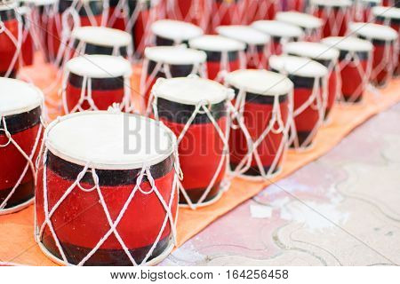 Tablas membranophones pair of small drums. Handicrafts on display during the Handicraft Fair in Kolkata earlier Calcutta West Bengal India. It is the biggest handicrafts fair in Asia.