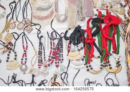Necklaces handicrafts on display during the Handicraft Fair in Kolkata earlier Calcutta West Bengal India. It is the biggest handicrafts fair in Asia.