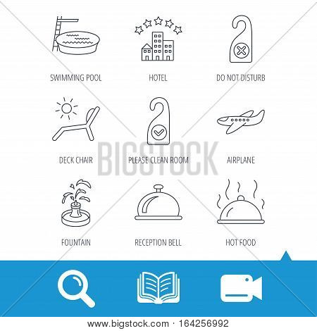Hotel, swimming pool and beach deck chair icons. Reception bell, restaurant food and airplane linear signs. Do not disturb and clean room flat line icons. Video cam, book and magnifier search icons