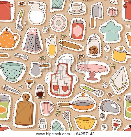 Kitchen and cooking seamless pattern. Kitchenware background and utensils food preparation vector illustration for restaurants cafe. Culinary dishware in flat design.