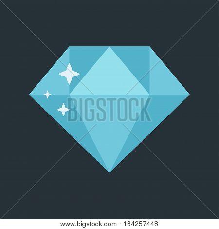 Jewelry stone expensive decoration treasure shape. Colourful gemstone precious fashion icon. Vector diamond crystal glass rich trendy brilliant.