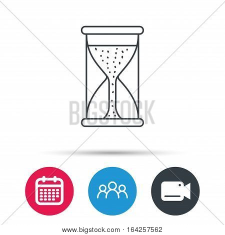 Hourglass icon. Sand time starting sign. Group of people, video cam and calendar icons. Vector