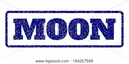 Navy Blue rubber seal stamp with Moon text. Vector tag inside rounded rectangular frame. Grunge design and dirty texture for watermark labels. Horisontal sign on a white background.