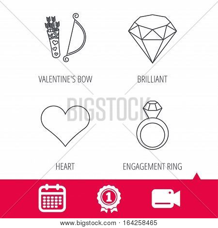 Achievement and video cam signs. Love heart, brilliant and engagement ring icons. Valentine bow linear sign. Calendar icon. Vector