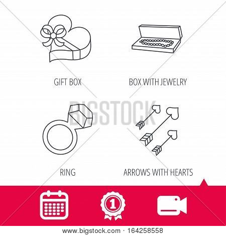 Achievement and video cam signs. Jewelry, gift box and wedding ring icons. Arrows with hearts linear sign. Calendar icon. Vector