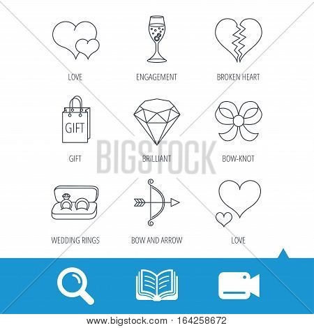 Love heart, gift box and wedding rings icons. Broken heart and engagement linear signs. Valentine amour arrow, brilliant flat line icons. Video cam, book and magnifier search icons. Vector