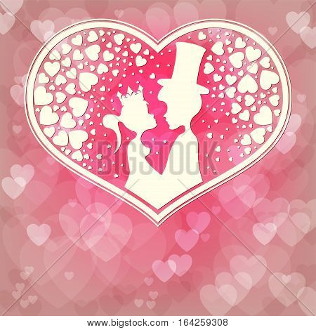 Silhouettes of the Prince and Princess look at each other, on a pink background of hearts