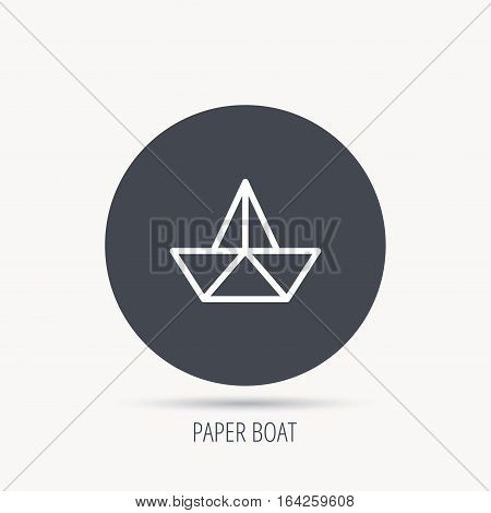 Paper boat icon. Origami ship sign. Sailing symbol. Round web button with flat icon. Vector