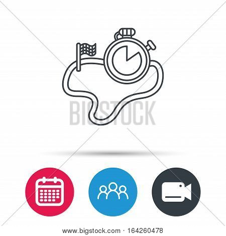 Race road icon. Finishing flag with timer sign. Group of people, video cam and calendar icons. Vector