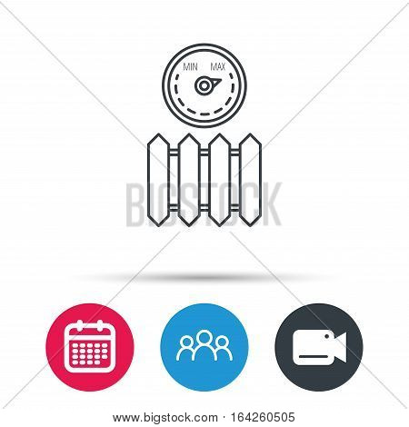 Radiator with regulator icon. Heater sign. Maximum temperature. Group of people, video cam and calendar icons. Vector