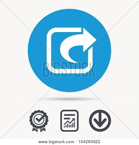 Share icon. Send social media information symbol. Achievement check, download and report file signs. Circle button with web icon. Vector