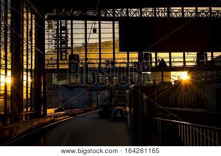 trainstation in berlin with shining evening sun
