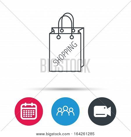 Shopping bag icon. Sale handbag sign. Group of people, video cam and calendar icons. Vector