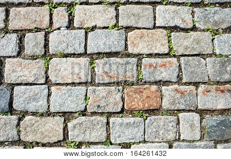 Cobbled stone road background and textured photo