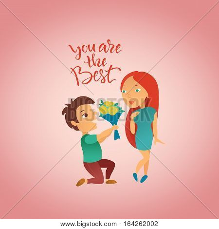 Vector illustration. Greeting card with Valentine's day holiday. Postcard with the image of enamored pair. Man confesses to love a girl. Cartoon characters.